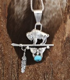 Buffalo And Arrowhead Sterling Silver Necklace