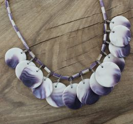 Traditional Style Disks Wampum Necklace