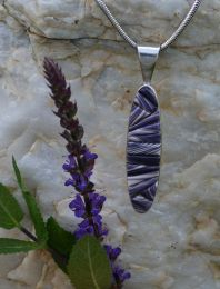 Long-Oval Sterling Silver Pendant with Hand-Cut Wampum Cornrow Inlay