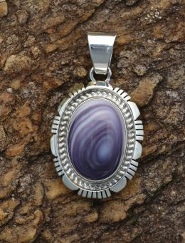Round oval Wampum Silver Pendant with double Sterling Silver design