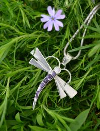 Large Dragonfly with Hand-Cut Inlay Wampum Necklace