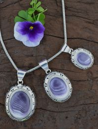Round-Oval Wampum Pendant with Sterling Silver Shadowbox Design