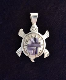 Sterling Silver Turtle with Wampum Inlay