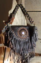 Purse - handmade with genuine leather and Wampum shell