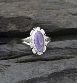 Extra Small/Small Oval Cabochon with Designed Edge Wampum Ring