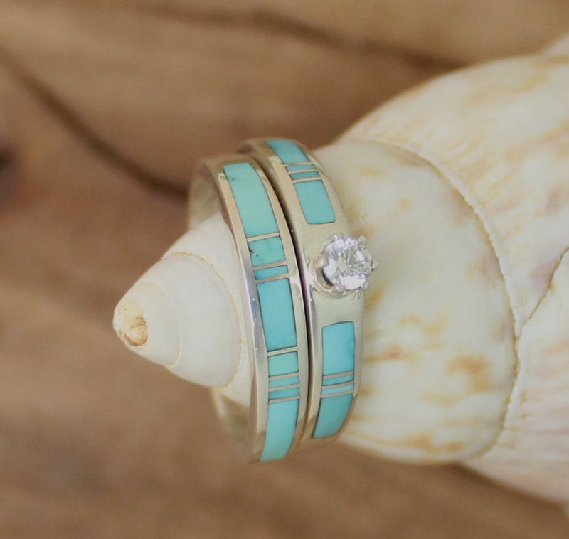7a11c1a20166f9 These authentic and unique Native American made rings are like no other.  Native American Handcrafted Turquoise Sterling Silver Wedding Band ...