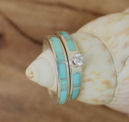 Turquoise Wedding Band Set with Round Zircon