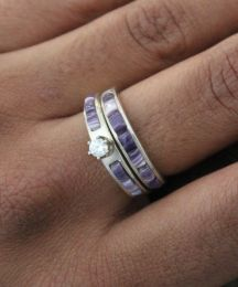 Wampum Cornrow Inlay Wedding Band Set with Round Zircon