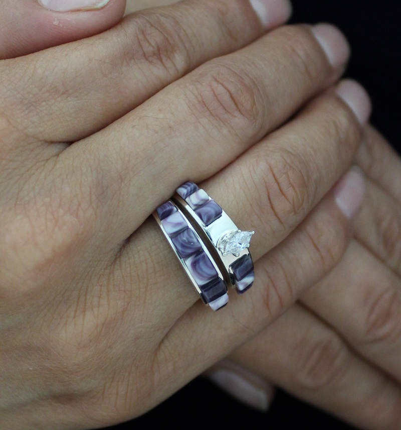 Wampum Cornrow Inlay Wedding Band Set With Oval Zircon