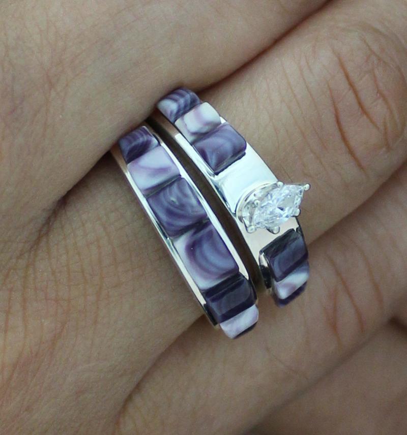 Wampum Inlay Wedding Band Set with Oval Zircon