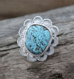 Large Cabochon with Flower Design Turquoise Ring
