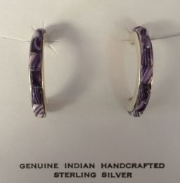 Large Hoops with Hand-cut Inlay Wampum Earrings
