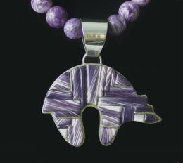 Large Bear with Hand-Cut Inlay Wampum Necklace