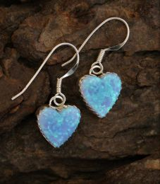 Light Blue Opal Heart Earrings