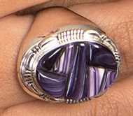 Men's Hand-Cut Cornrow Inlay Wampum Sterling Silver Ring
