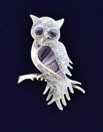 Owl with Inlay Wampum Pin